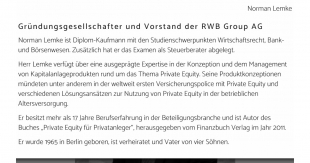 RWB Group AG: Norman Lemke und Horst Güdel forcieren Private Equity